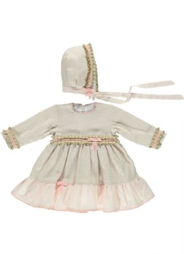 Stunning Baby Girl Spanish Beige Checked Dress with Bonnet